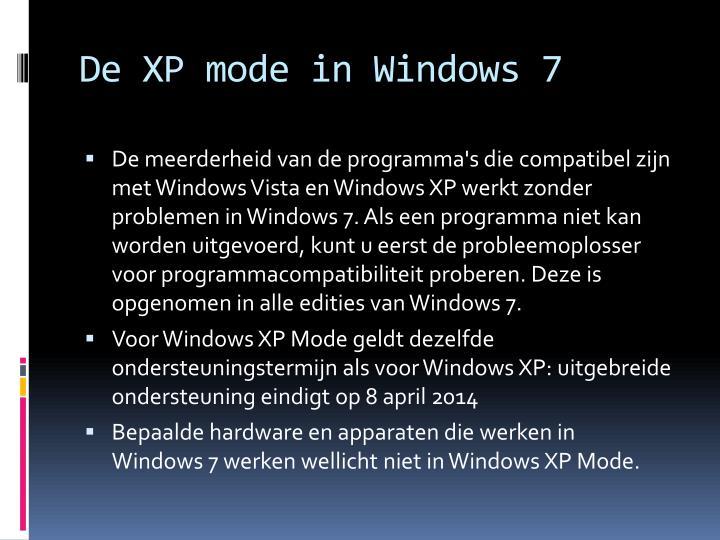 De XP mode in Windows 7