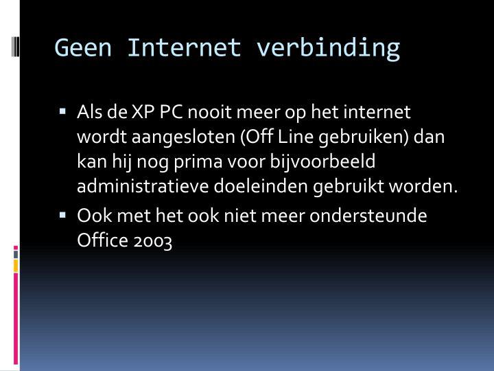 Geen Internet verbinding