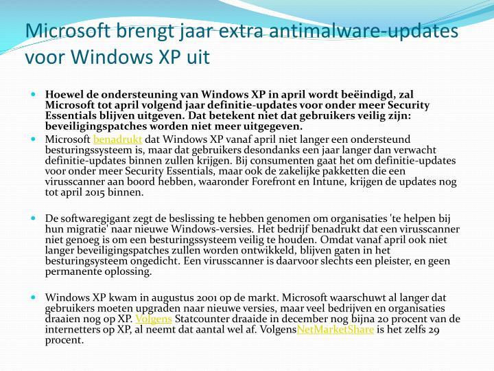 Microsoft brengt jaar extra