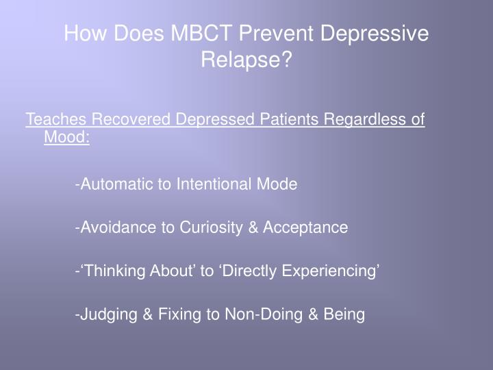 How Does MBCT Prevent Depressive Relapse?