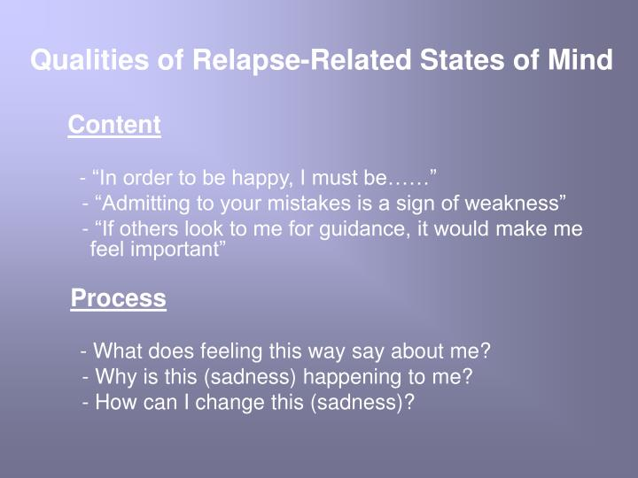 Qualities of Relapse-Related States of Mind