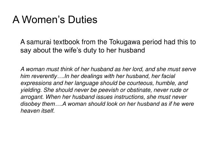 A Women's Duties