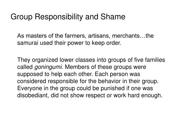 Group Responsibility and Shame