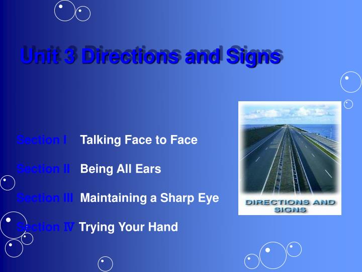 Unit 3 Directions and Signs