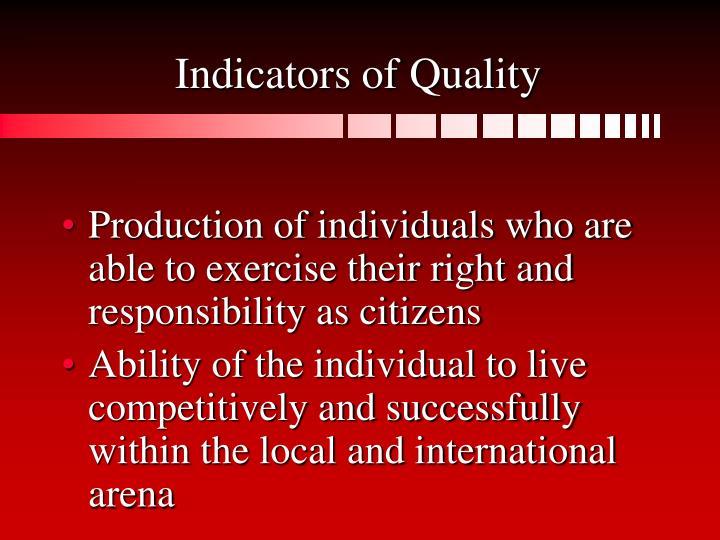 Indicators of Quality