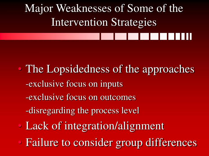 Major Weaknesses of Some of the Intervention Strategies
