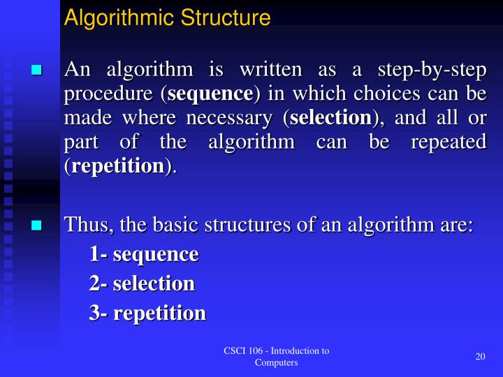 Algorithmic Structure
