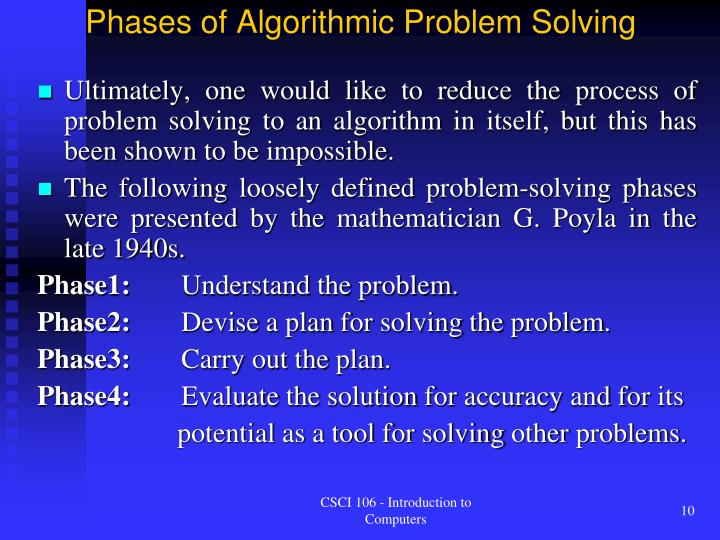 Phases of Algorithmic Problem Solving