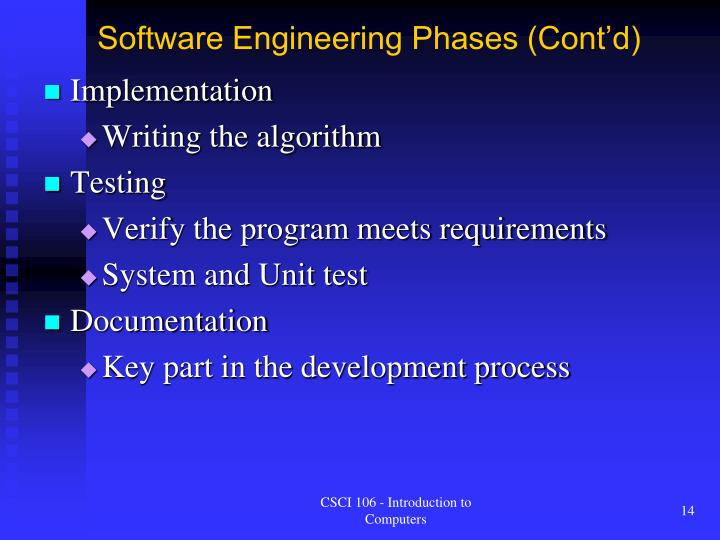 Software Engineering Phases (Cont'd)