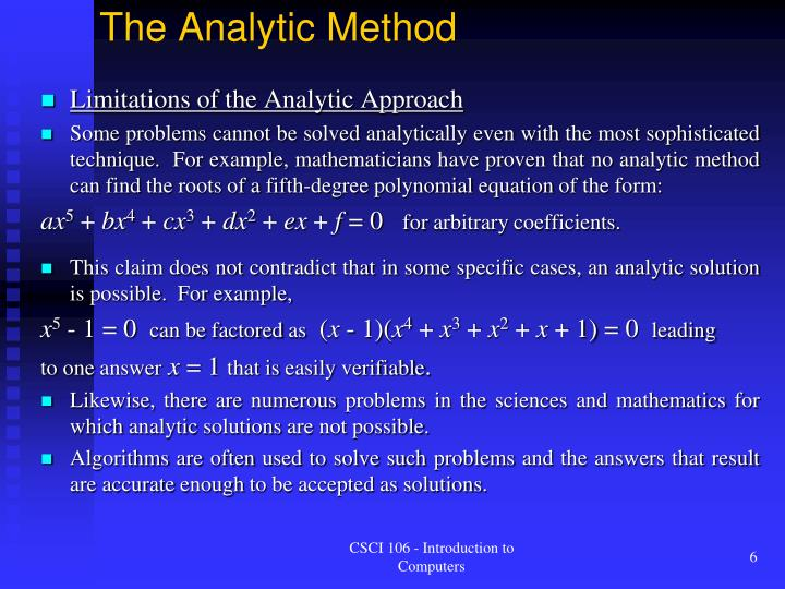 The Analytic Method