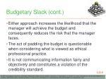 budgetary slack cont