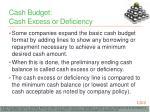 cash budget cash excess or deficiency