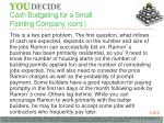 cash budgeting for a small painting company cont
