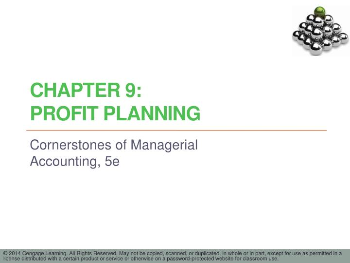Chapter 9 profit planning