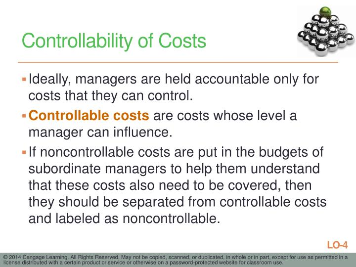 Controllability of Costs