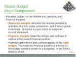 master budget major components