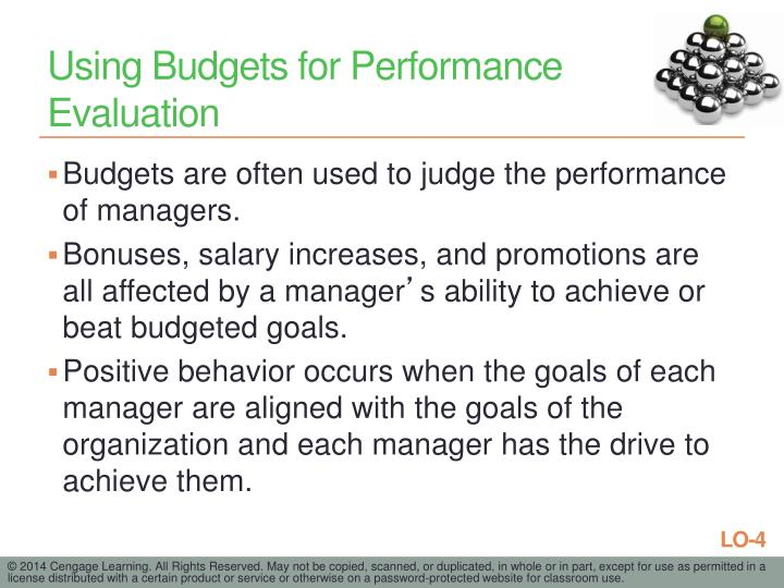 Using Budgets for Performance Evaluation