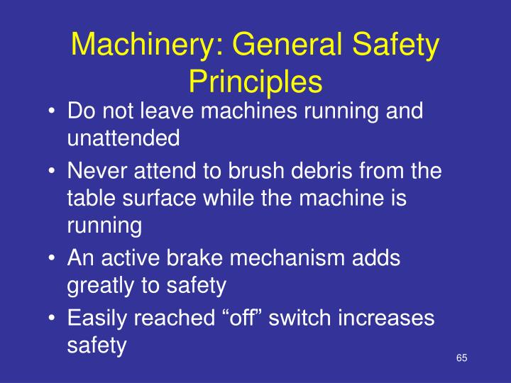 Machinery: General Safety Principles