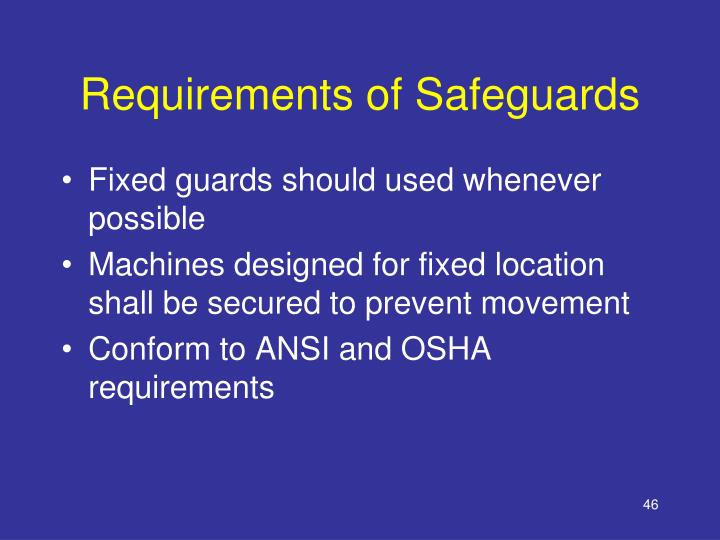 Requirements of Safeguards