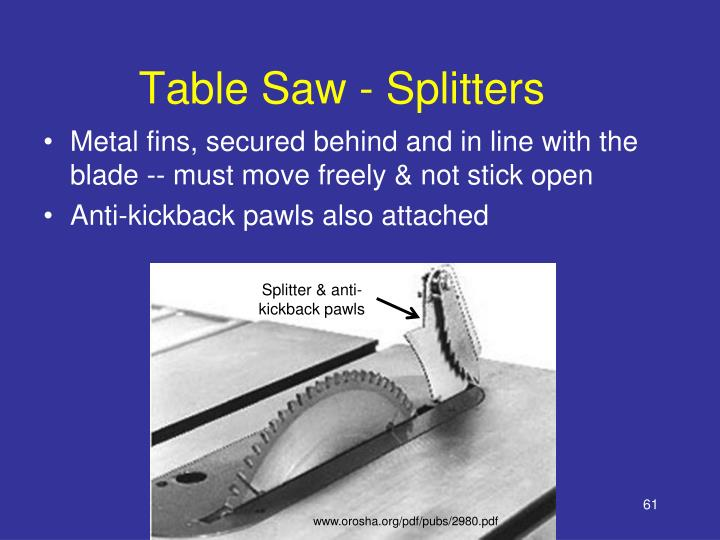 Table Saw - Splitters