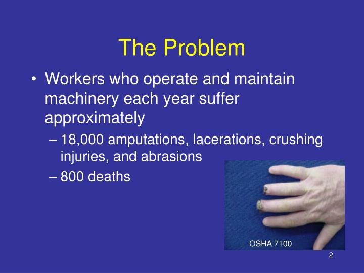 Workers who operate and maintain machinery each year suffer approximately