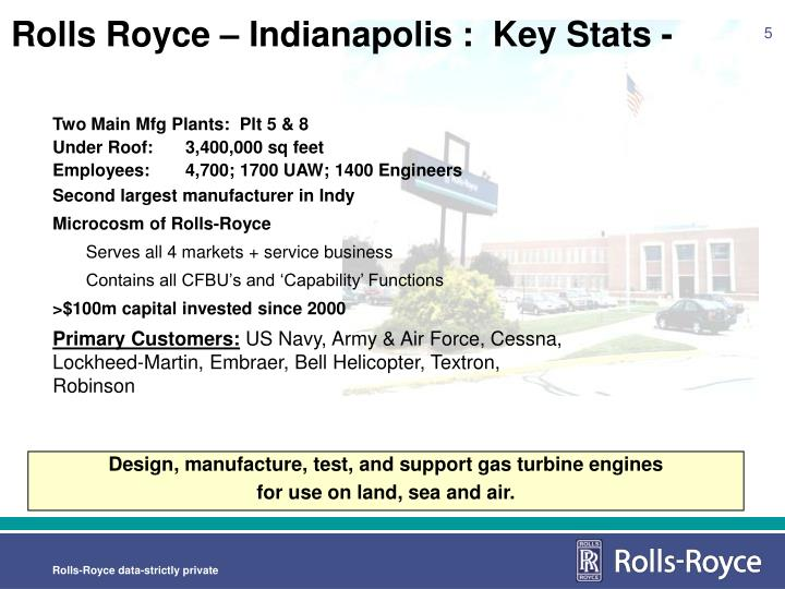 Rolls Royce – Indianapolis :  Key Stats -