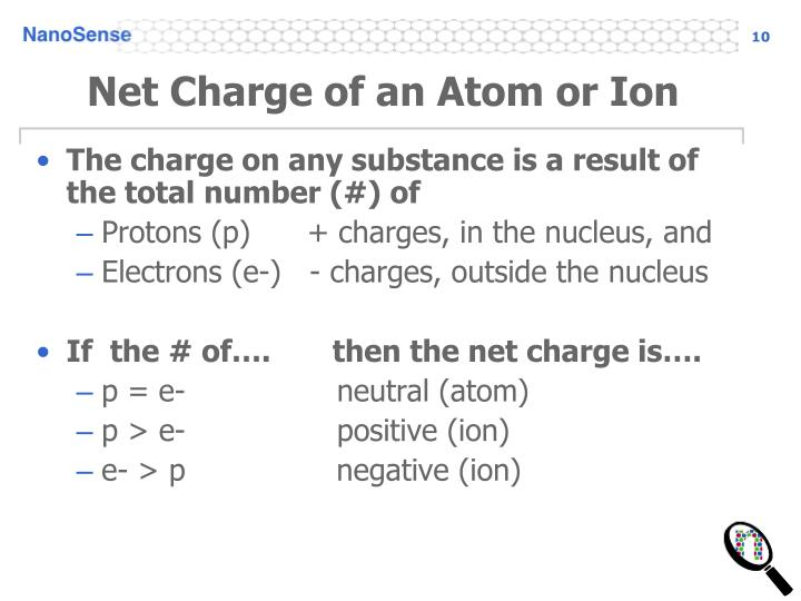 Net Charge of an Atom or Ion