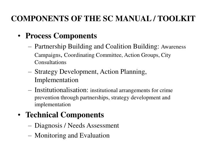 COMPONENTS OF THE SC MANUAL / TOOLKIT