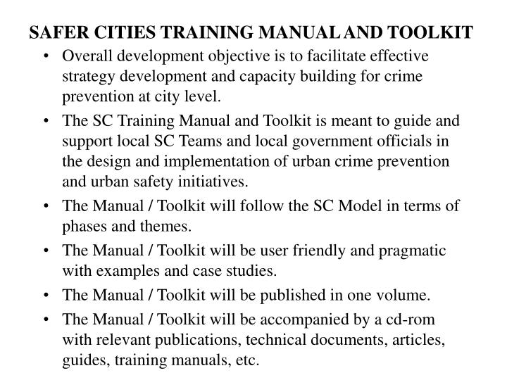 Safer cities training manual and toolkit