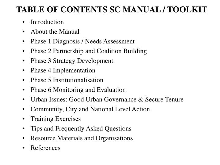 TABLE OF CONTENTS SC MANUAL / TOOLKIT