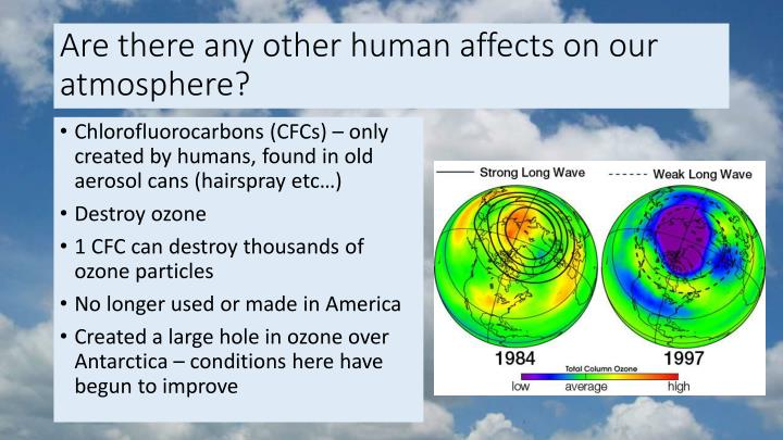 Are there any other human affects on our atmosphere?