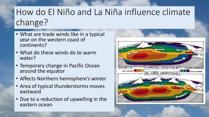 How do El Niño and La Niña influence climate change?