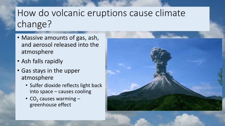 How do volcanic eruptions cause climate change?