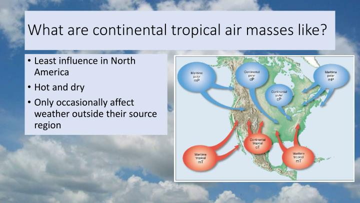 What are continental tropical air masses like?