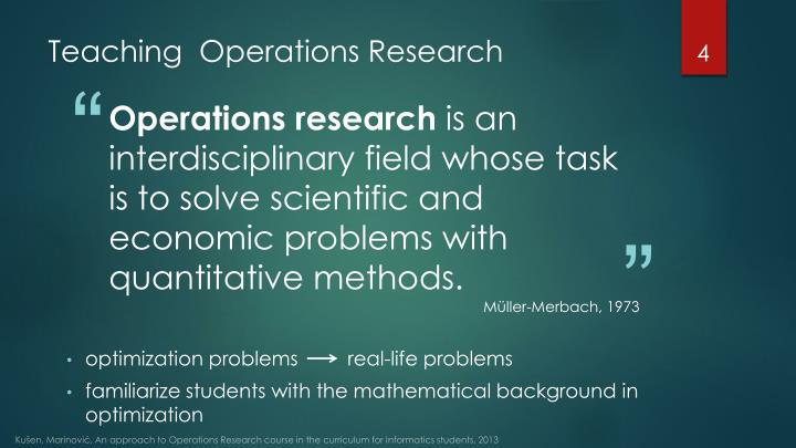 Teaching  Operations Research