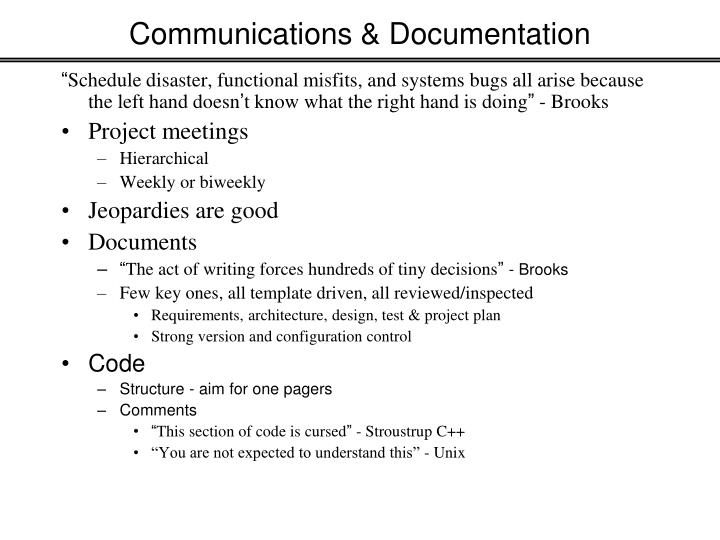 Communications & Documentation