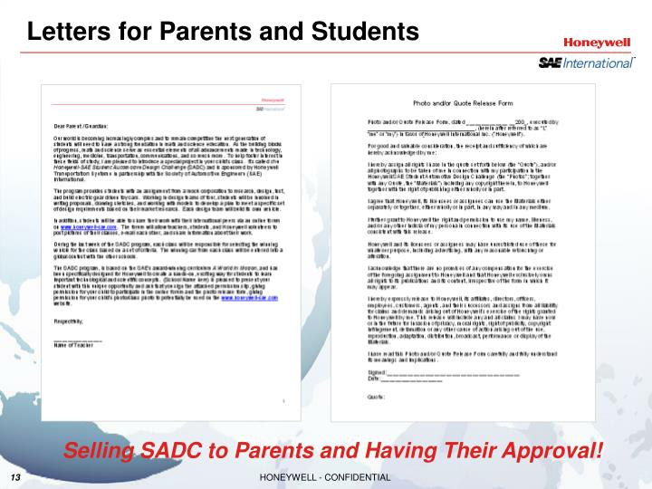 Letters for Parents and Students