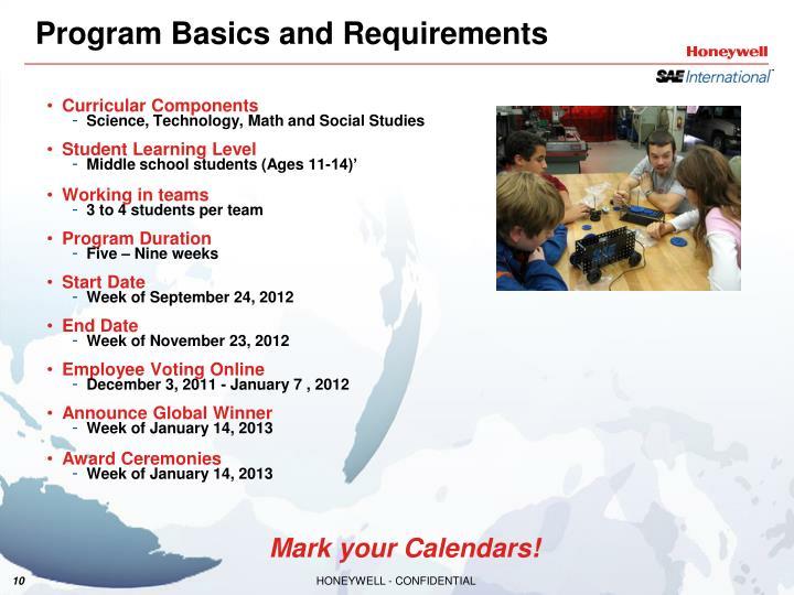 Program Basics and Requirements