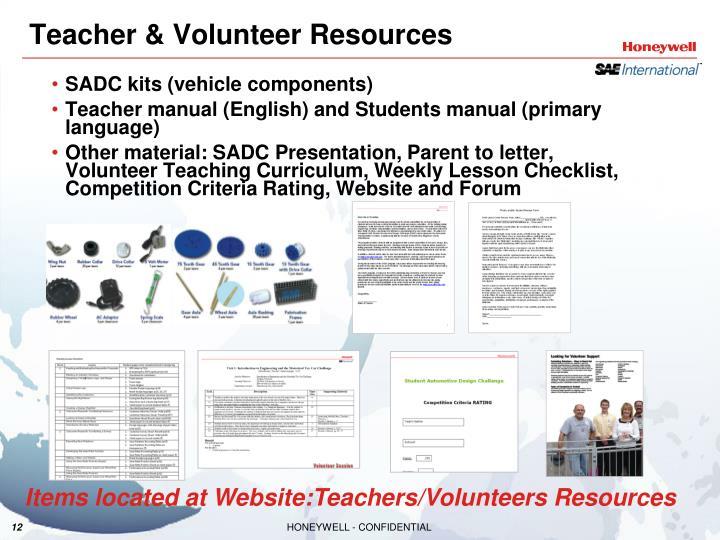 Teacher & Volunteer Resources