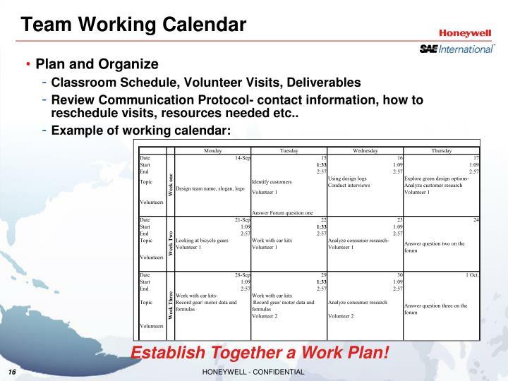Team Working Calendar