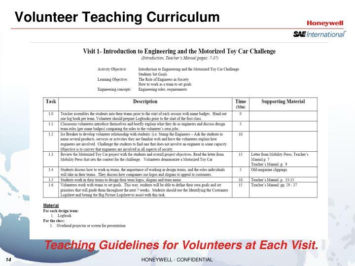 Volunteer Teaching Curriculum