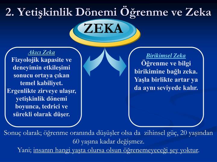 2. Yetişkinlik Dönemi Öğrenme ve Zeka