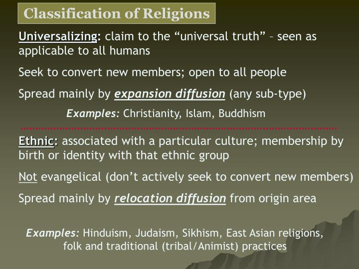 classification of religions Classification of religions - conclusion: the classification of religions that will withstand all criticism and serve all the purposes of a general science of religions has not been devised.