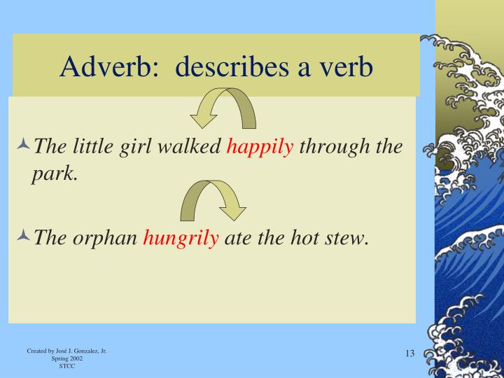 Adverb:  describes a verb