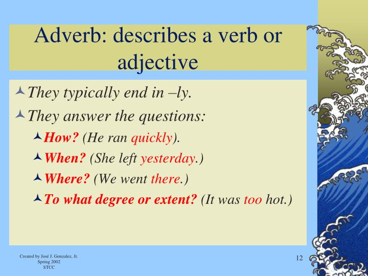 Adverb: describes a verb or adjective
