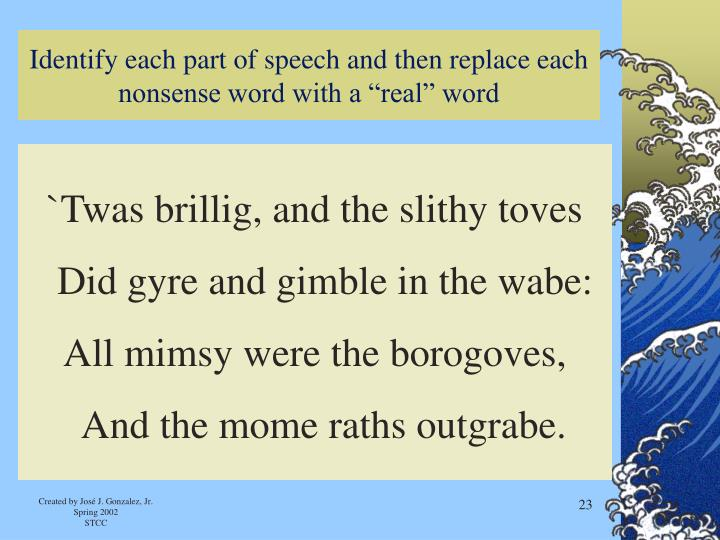 "Identify each part of speech and then replace each nonsense word with a ""real"" word"