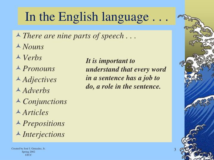 In the English language . . .