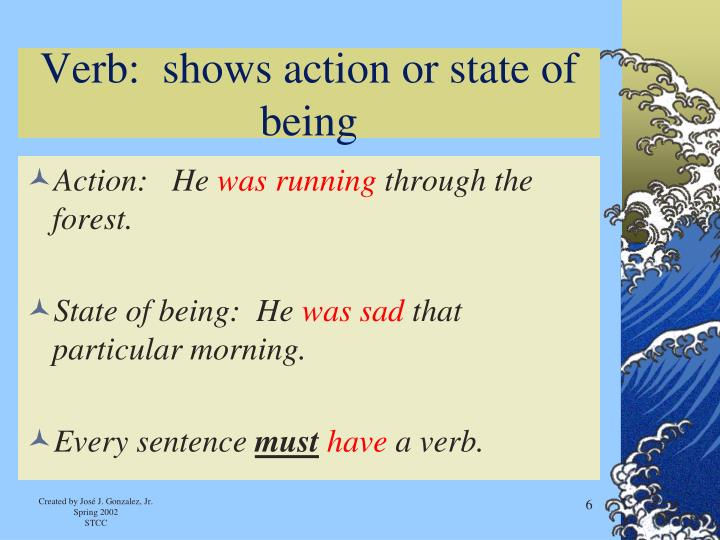 Verb:  shows action or state of being