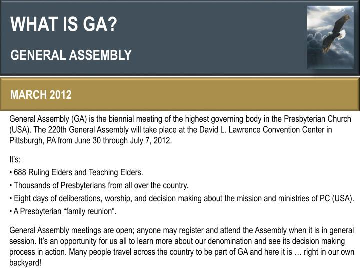 WHAT IS GA?