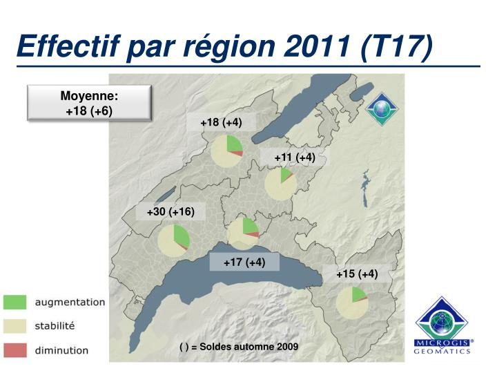 Effectif par région 2011 (T17)